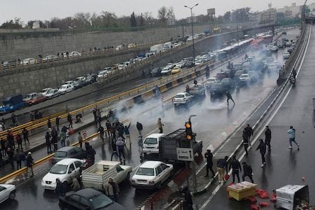 iran protests road